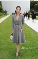 Free Shipping ! 2014 Winter Fashion New Star Lapel Long-sleeved Big Hem Pure Grey Trench Coat