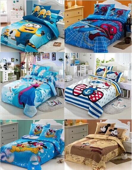 high quality 3pcs cotton cartoon cat mouse micky princess kids children boy girl twin bed sheet set bedding set quilt cover set(China (Mainland))