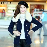 FYOUAI Women Woolen Coat Rabbit Fur Collar Coat Double Breasted Outdoor Casual Long Style Real Fur Winter Coat Slim Warmth Coat