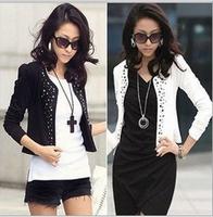 NEW 2014 Fashion Autumn Women Clothing Womens Short Rivet Jackets Plus Size Casual Coats Jaqueta Feminina Overcoat Work Wear