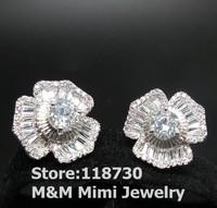 Luxury Sparkling Crystal Zircon Stone Flower Stud Earrings Pave Setting AAA Cubic Zirconia Elegant Bridal Wedding Party Jewelry