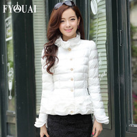 FYOUAI Women Down Coat Winter jacket  New Fashion Thicken Cotton Coat With Lace Flowers Slim Women Casual Outdoor Coat