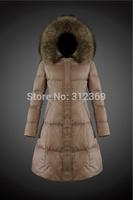 2015 New Brand Fashion Winter Jacket Fur Hooded Zipper Long Women Warm Down Coat 4 Colors Winter Parkas Coat Lady Down Jacket