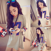 2014  large size women's contrast color number 17 printing long t shirt loose long-sleeved t-shirt dresses