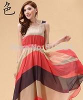 12pcs/lot  Hot 2014 summer new bohemian beach dress color striped chiffon dress Free shipping