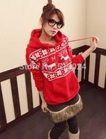2014 Casual Korean Loose Sweatshirts Snowflake and deer Print Women Hoodies Female Autumn/Winter Full Sleeves Warm Pullover