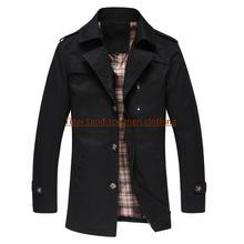 M-5XL men autumn winter khaki long trench coat business pea coat brand abrigos hombre manteau homme homem casaco longo(China (Mainland))
