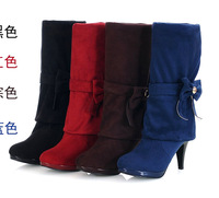 2014 new black blue red sexy wedding boots high heel boots bow sexy party knee high long military women motorcycle boots bride