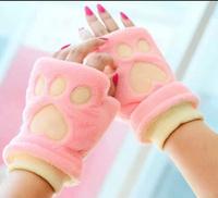 HuanYU winter Fahion Fluffy Women warm   warm the knitting gloves velvet Mittens peach heart design