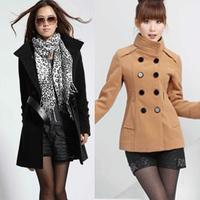 2014 autumn and winter women woolen overcoat woolen outerwear stand collar double breasted slim 202