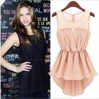 2014 women clothing summer new Fashion Slim sleeveless Lace Dress dovetail casual chiffon dress R486
