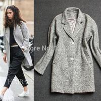 Wholesale 2015 celebrity street fashion women winter clothing grey small lapel cashmere overcoat