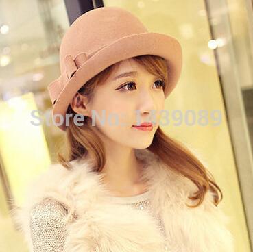 YJG-695 trendy wool cap British style bow curling pure wool vintage hat 2 colors bowler hat fedora chapeu feminino chapeu(China (Mainland))