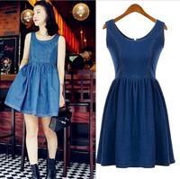 vestido de festa New 2014 Spring Autumn O-neck Vintage Sleeveless Ladies Jeans dresses Korean Women A-line denim casual dress