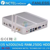 Fanless I5 4200u 4K HD micro pc with Intel Core i5 4200U 1.6Ghz Haswell Architecture SOC design 4G RAM 250G HDD windows Linux
