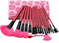 Brand 18pcs Make up Brushes Tools Professional Cosmetic Natural Hair Brush Pink Makeup Brushes Set + Rose Case Gift for Women