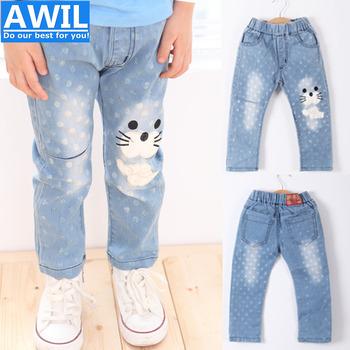 2015 лето и осень девушки джинсы с чистого хлопка материал дети джинсы мода девушки джинсовые брюки 2-6 лет бесплатная доставка