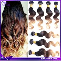 TOP Ombre Hair Extensions Rosa Hair Products 6A Brazilian Virgin Hair Body Wave 4 Bundles Three Tone 1b#4#27 Human Hair Weave