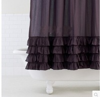 KINGART New Arrival Fashion plain deep purple shower curtain Handmade ruffle terylene thickening waterproof bath curtains