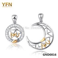 Wholesale GND0816 Fashion Moon & Sun Lover Pendants for Women & Men Genuine 925 Sterling Silver Jewerlry Pendants Free Shipping