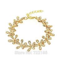 Wedding Natural White Rhinestone Gold Silver Color Alloy Flower Braceletes Luxury Brand Fashion 2014 New Arrival Bijoux