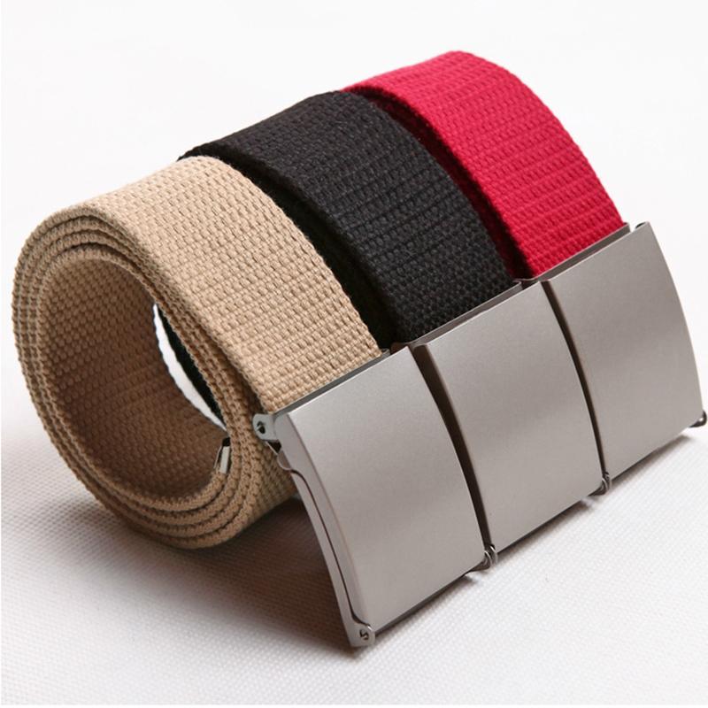 11 Colors New Candy Colors Men Women Unisex Boys Plain Webbing Cotton Canvas Metal Buckle Belt
