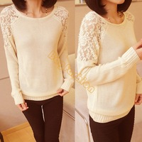 2014 Autumn Winter Women Sweaters Round Neck Hollow Shoulder Splicing Lace Ladies Back Openwork Pullover Sweaters B20 19503