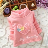 2014 New autumn and winter girls Hoodies,heart flower pattern children girls sweet warm velvet thick bottoming shirts,V1445