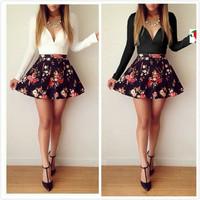 014 autumn explode paragraph long sleeved low cut floral Mini Dress bandage dress mini bodycon dress frozen dress elsa dress