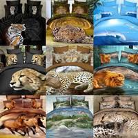 New.3d bedding set Animal tiger Lions Leopard duvet cover bed set bedclothes queen size coverlet pillowcase linen Home textile
