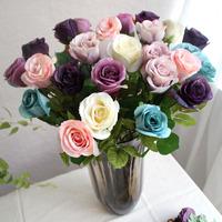 12pcs/lot European Silk Artificial Decorative Rose Flowers High Quality Home Decor Wedding Bridal Bouquet Free Shipping(no vase)