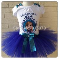 royal blue cotton tshirt top frozen tutu dress