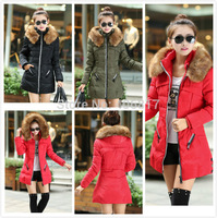 2014 New Arrival ladies down jacket stand collar solid zipper hooded long coldproof warm lady down coat parkas winter 5 sizes