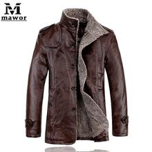 New 2014 Winter Leather Jacket,Fur Thickening Wool Windbreak Waterproof Parka Casual Jaquetas Leather Men Coat  Size M-XXXL(China (Mainland))