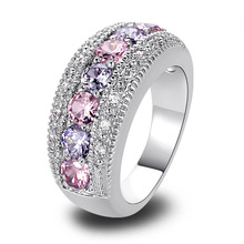 Wholesale Dainty Lovely Round Cut Pink & White Sapphire 925 Silver Ring Size 6 7 8 9 10