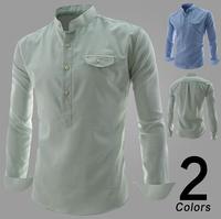 Fashion Mandarin Collar Casual Men Dress Shirts Long Sleeve Slim Fit Camisetas Masculina Green/Sky Blue Free Shipping Qycs35