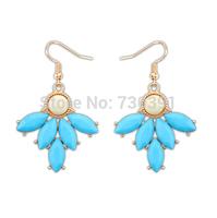 Free Shipping New Arrival Fashion Elegant Lady's Blue Resin Flower Petal Golden Droop Earrings