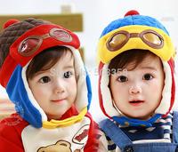 Fashion Design Free Shipping Kids Warm Cap Korean Style Cartoon Boys Girls Flight Caps Winter Autumn Cute Earflap Cap