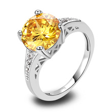 Wholesale Cocktail Jewelry Ring Round Cut Citrine & White Sapphire 925 Silver Ring Size 6 7 8 9 10 11 12