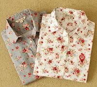 2014 Quality Women Blouse Casual Shirt Floral Print Femininas Blusas Women Clothing Work Wear Vintage Roupas Cotton Blouse Tops