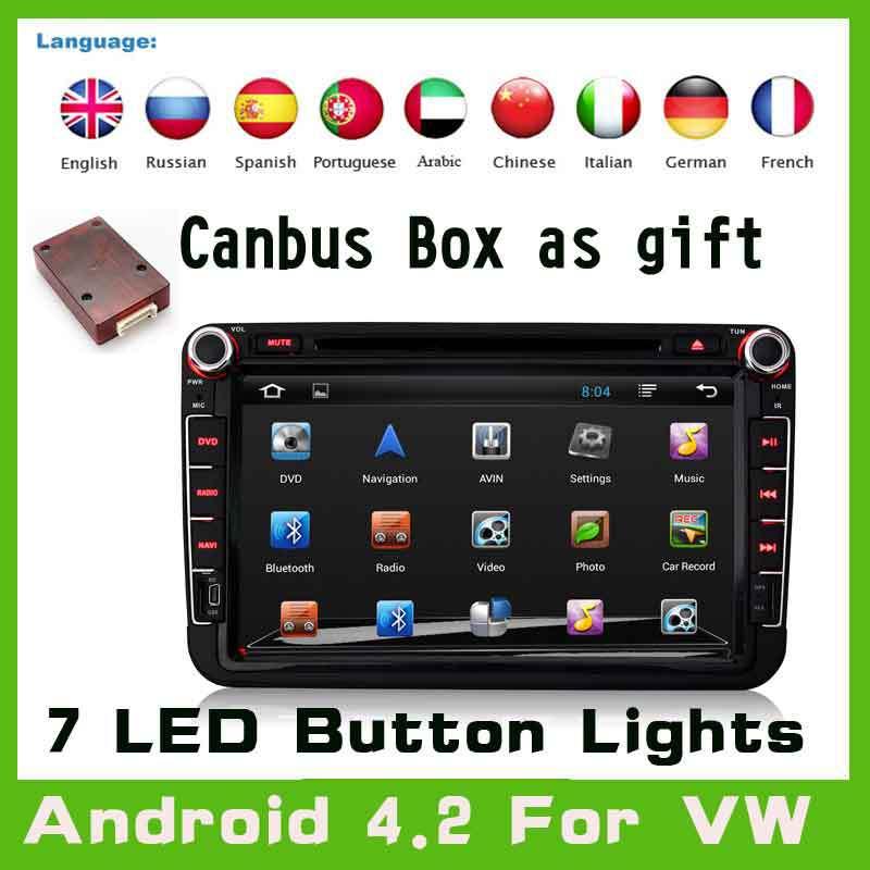 Android 4.2 Car GPS Navi DVD Player For Volkswagen VW Skoda POLO PASSAT CC JETTA TIGUAN TOURAN SHARAN CADDY GOLF 5 Fabia Superb(China (Mainland))