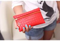 FREE SHIP Female wallet imitation woven PU purse women's bag long zipper mobile phone purse pu tide joker bag factory wholesale