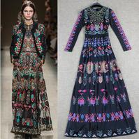 2014 women's spring vintage print patterns fancy long sleeve maxi dress