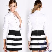 Women Work Wear Shirt Spring Autumn 2014 Fashion White Blouse Cotton Long Sleeve Shirt Formal Blouse Office Career Shirts 07924