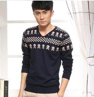 2014 Hot Explosion Models Men's Sweater V Neck Cotton Men's Sweater Long-sleeved T-shirt  two Colors M-L-XL-XXL Sweater Men