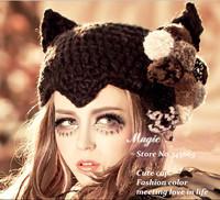 Korean Cute Women Devil Cat Ear Horns Knitting Skip Beanie Winter Hats for Women 2014 Cap Women
