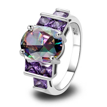 Wholesale Charm Fancy Shinning Round Cut Rainbow Sapphire & Amethyst 925 Silver Ring Size 7 8 9 10