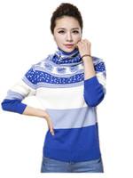 Free Shipping 2014 Korean version Women fresh flowers striped long-sleeved turtleneck sweaters, Girls Pullovwers Big Size S-3xl