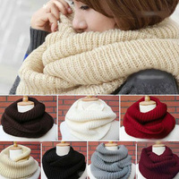 New Women Men Winter Warm Infinity 2Circle Cable Knit Cowl Neck Long Scarf Shawl
