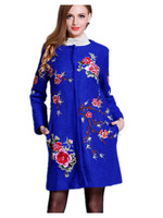 Free Shipping 2014 Women  Chinese national style embroidery   Woolen Coat, Big size ladies retro wool woolen overcoats